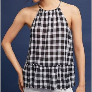 Anthropologie Cloth & Stone Gingham Halter Top XS